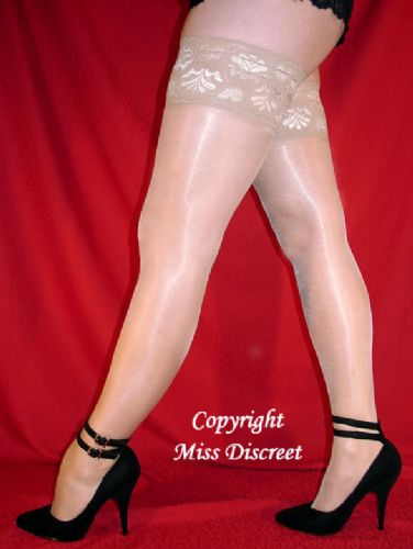 Nude Super Shine 15 Denier Ladies Hold Up Stockings with Extra Deep Lace Tops - Med Lar or XL